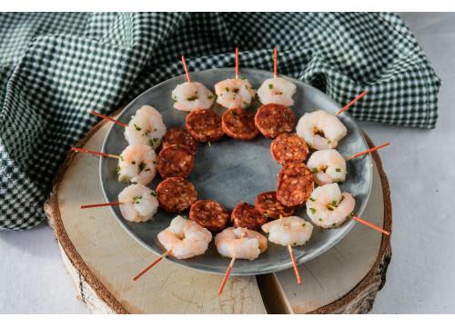 Brochettes crevettes chorizo à l'ail x 25 pièces
